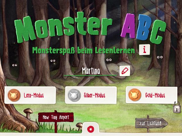 monster abc buchstaben lernen mit monsterspa ene mene mobile. Black Bedroom Furniture Sets. Home Design Ideas
